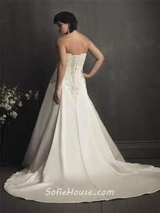 A line sweetheart designer ivory satin lace wedding for Plus size designer wedding dresses