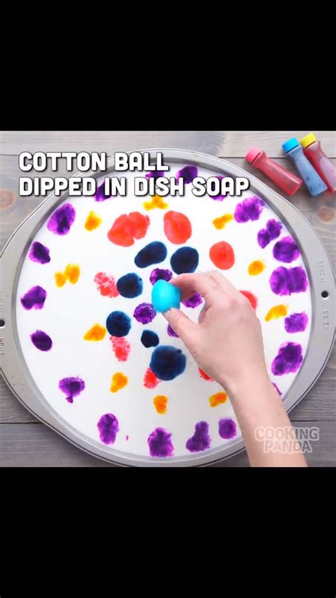 milk food coloring   cotton balled dipped  dish