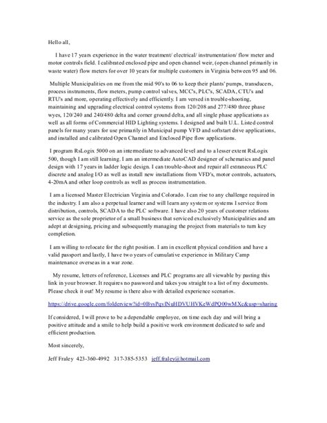 Cover Letter Colleagues by Jeffrey Fraley S Cover Letter Wr