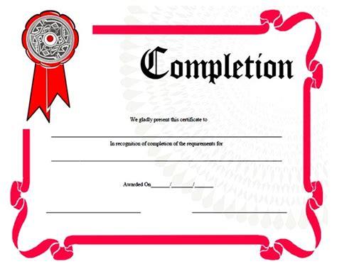Blank Certificates Of Completion Templates Vatansun