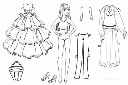 Doll Paper Coloring Template Dolls Barbie Printable