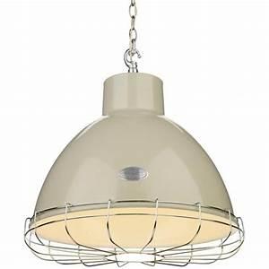 Retro industrial ceiling pendant light in cream with metal