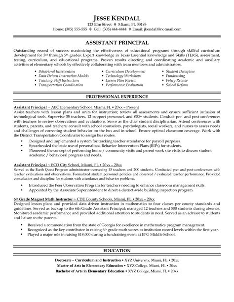Assistant Resumes by Resume And Vice Principal Assistant Principal Resume