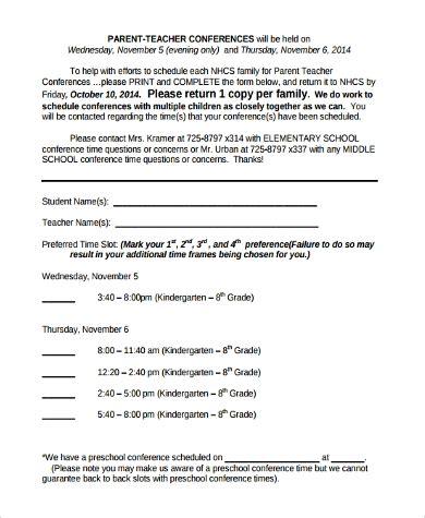 sample parent conference forms 9 free documents in pdf 750 | Kindergarten Parent Conference Form