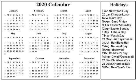 blank singapore calendar excel word