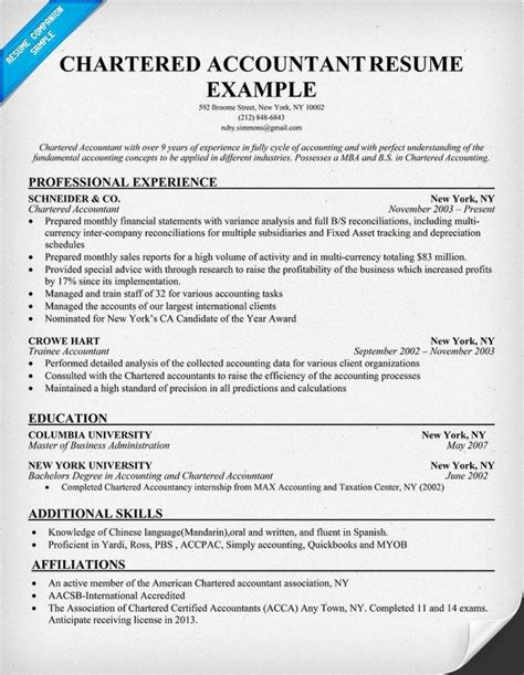 Resume Format For An Accountant by Chartered Accountant Resume Exle Sles Across All