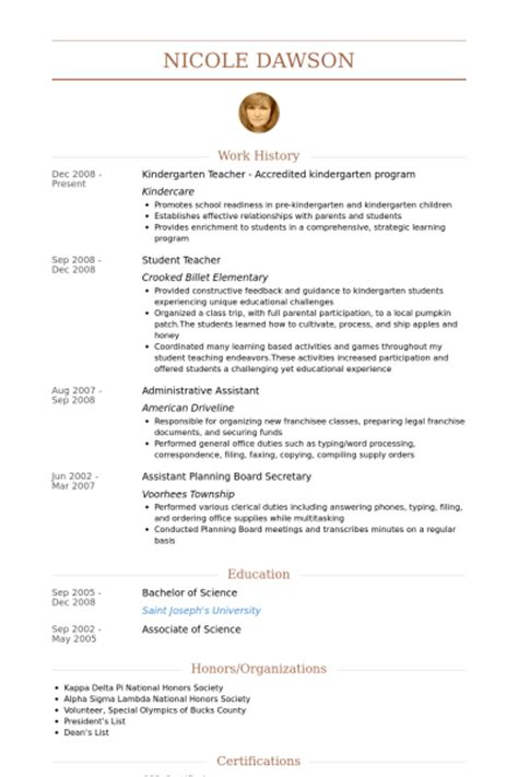 Kindergarten Resume by Kindergarten Resume Sles Visualcv Resume Sles Database