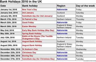 2016 calendar with federal bank holidays