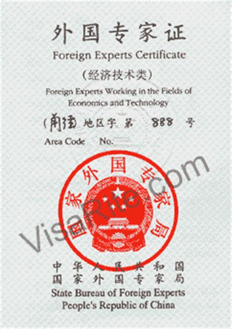 foreign experts certificate sample