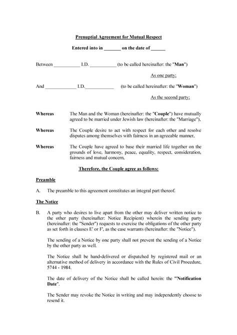 prenuptial agreement 30 prenuptial agreement sles forms template lab