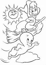 Casper Coloring Ghost Pages Fun sketch template