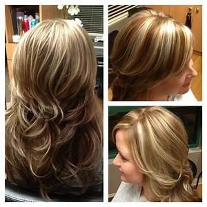 White blonde chunky highlights with light brown hair