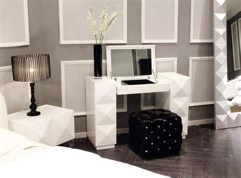 white desk with mirror and lights white lacquer contemporary vanity with folding mirror and