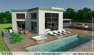 maison toit terrasse dole 39 etec With plan de maison a etage 5 maison toit terrasse hauteville 2 etec