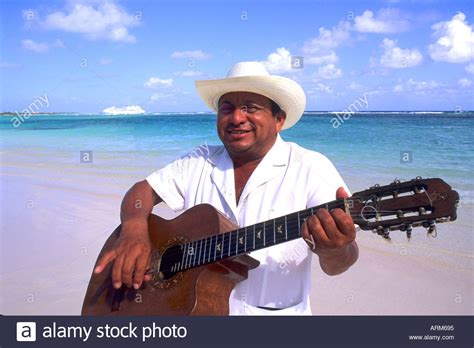 Mariachi Guitar Player On The Beach In Costa Maya Mexico