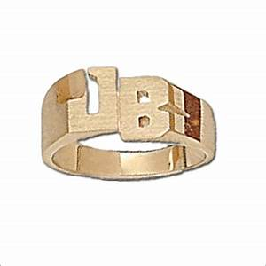 Fine monogram jewelry by basch co gold diamond for Block letter rings