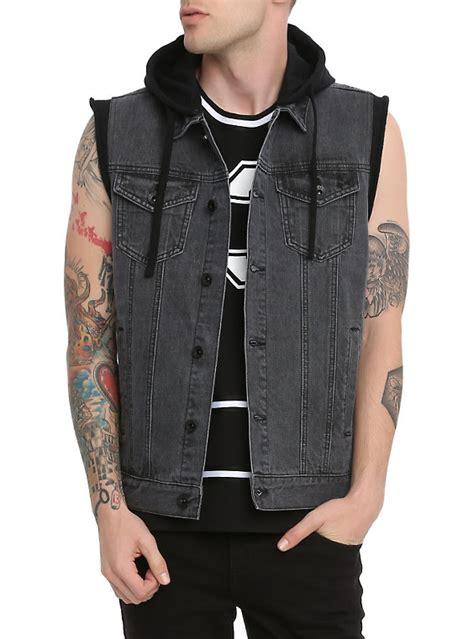 denim vest rude faded black fleece cap hooded denim vest topic