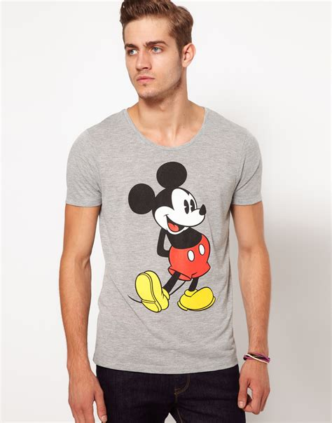 lyst asos t shirt with mickey mouse print in gray for