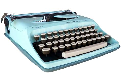 Vintage Aqua Remington Typewriter   Omero Home