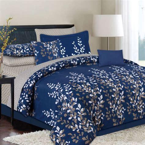 king  queen  piece navy blue bed   bag comforter