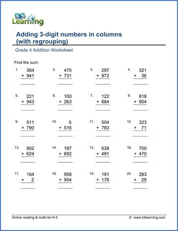 grade  math worksheet addition adding  digit numbers