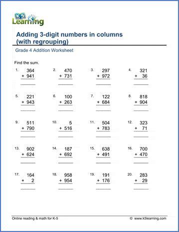 grade  math worksheet addition adding  digit numbers