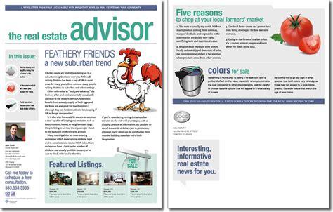 real estate newsletter templates real estate advisor newsletter template issue 2