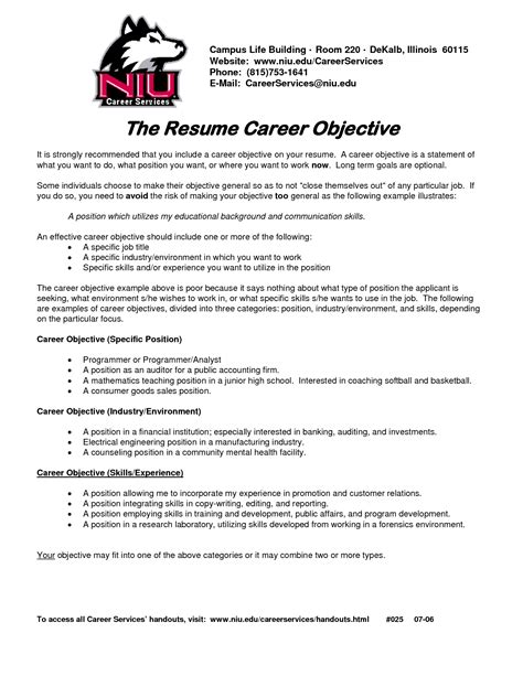 Resume Objectives Exles For Any by Sle Resume Objective For Any Position Gallery Creawizard