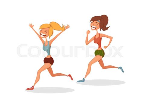 Funny Running Girls. Cartoon Vector Isolated Character