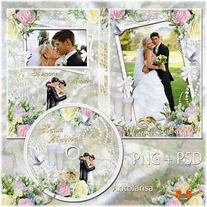 Wedding DVD cover template with flower photo frame and ...