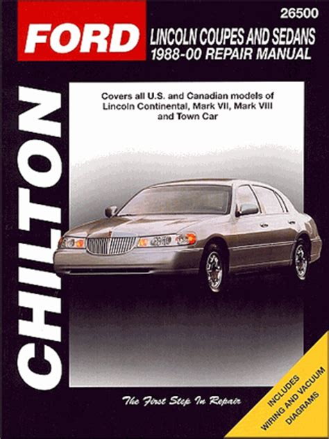 free online auto service manuals 1988 lincoln continental security system continental mark vii viii town car repair manual 1988 2000 chilton