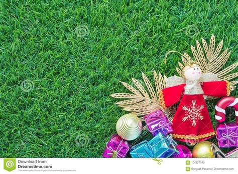 christmas decoration  green grass background stock photo