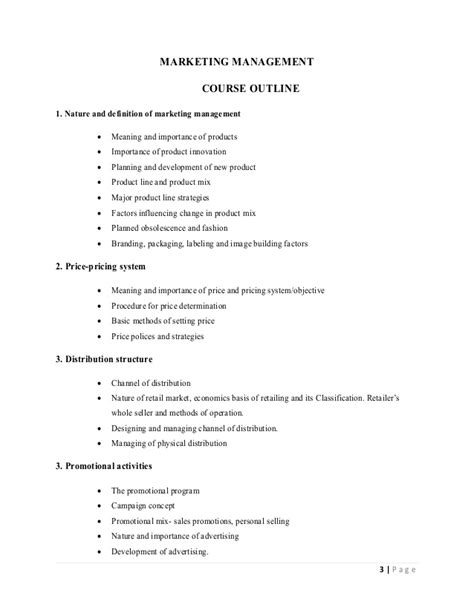 marketing management course marketing management notes