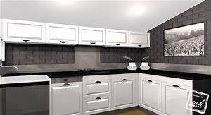 beautiful cuisine gris et blanc deco photos design With decoration cuisine rouge gris