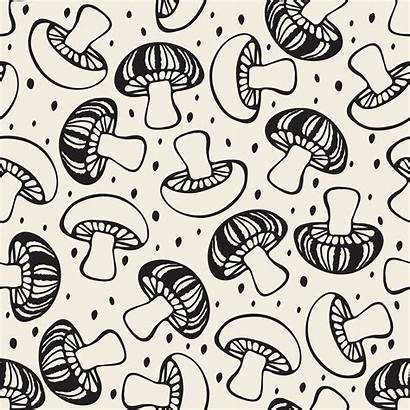 Mushroom Background Doodle Drawn Pattern Hand Seamless