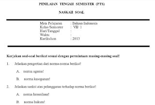 Berikut ini sekedar contoh soal asesmen kompetensi minimum (akm) untuk siswa smp. Soal UTS /PTS PKn Kelas 7 SMP Semester 1 K13 Tahun 2019 ...
