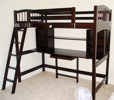 bunk bed with computer desk masculine large dark brown wooden loft beds for boys with