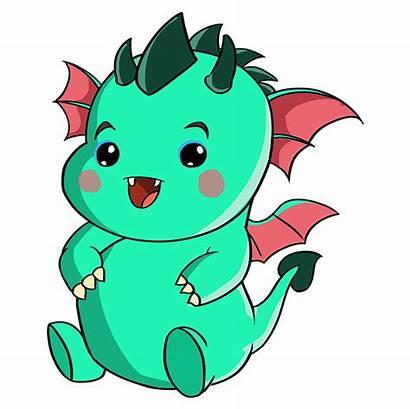 Dragon Kawaii Draw Drawing Cartoon Guides Then