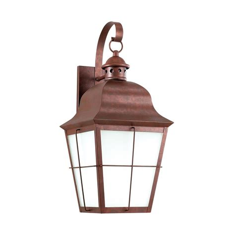 sea gull lighting chatham 1 light weathered copper outdoor wall mount lantern 8463den3 44 the
