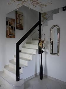 Rampe D Escalier Moderne : rampe d 39 escalier interieur b ton en verre et bois moderne drome 26 ~ Melissatoandfro.com Idées de Décoration