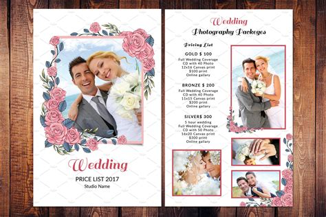 wedding photography price list  flyer templates