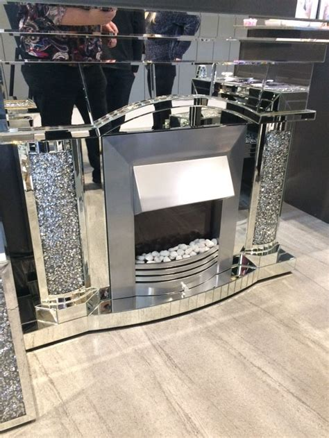 diamond crush sparkle mirrored emperor fire place