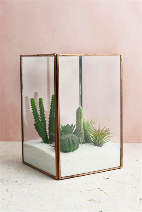 marble table glass terrarium display copper large