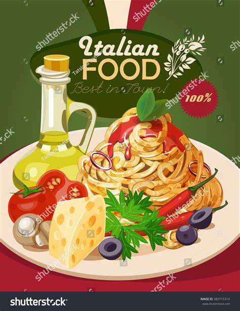poster cuisine food pasta spaghetti olive stock vector