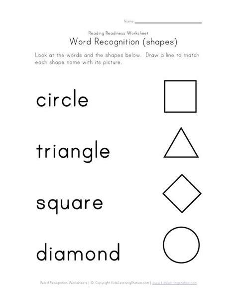 Shape Worksheet Kindergarten  Recognize Color Names Recognize Shape Names Shapes Word
