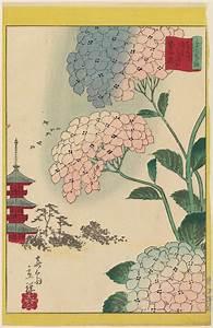 Utagawa Hiroshige II: Hydrangea at the Flower Garden at ...
