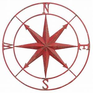 Large red metal compass rose wall art hanging decoration