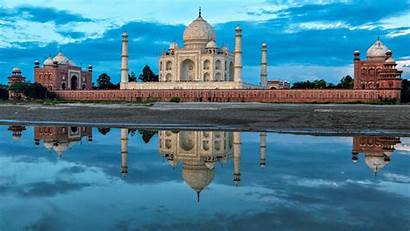 Mahal Taj India Agra Indian Landscape River