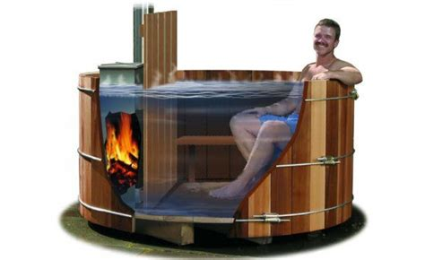 tub wood burner wood cabin in the woods