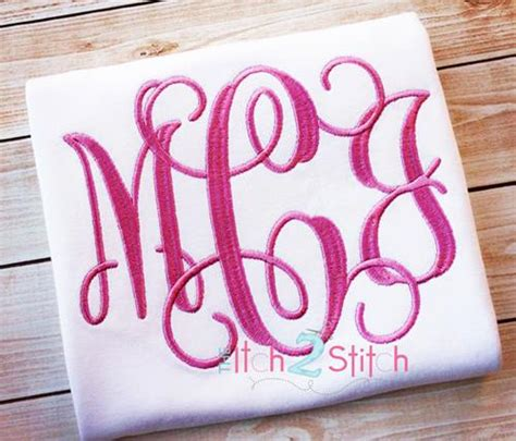 intertwined interlocking vine monogram embroidery font